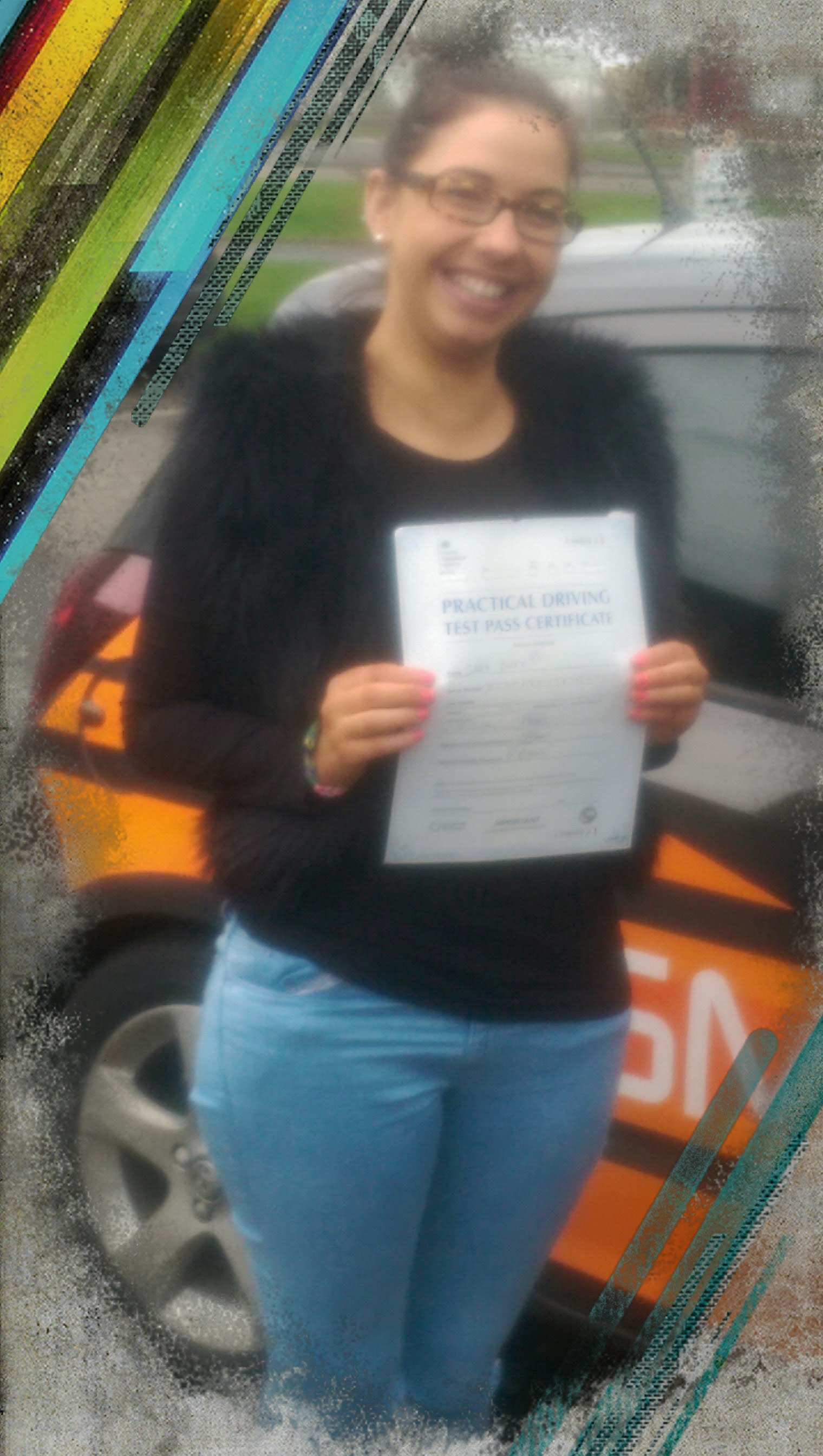 sara passing her driving test
