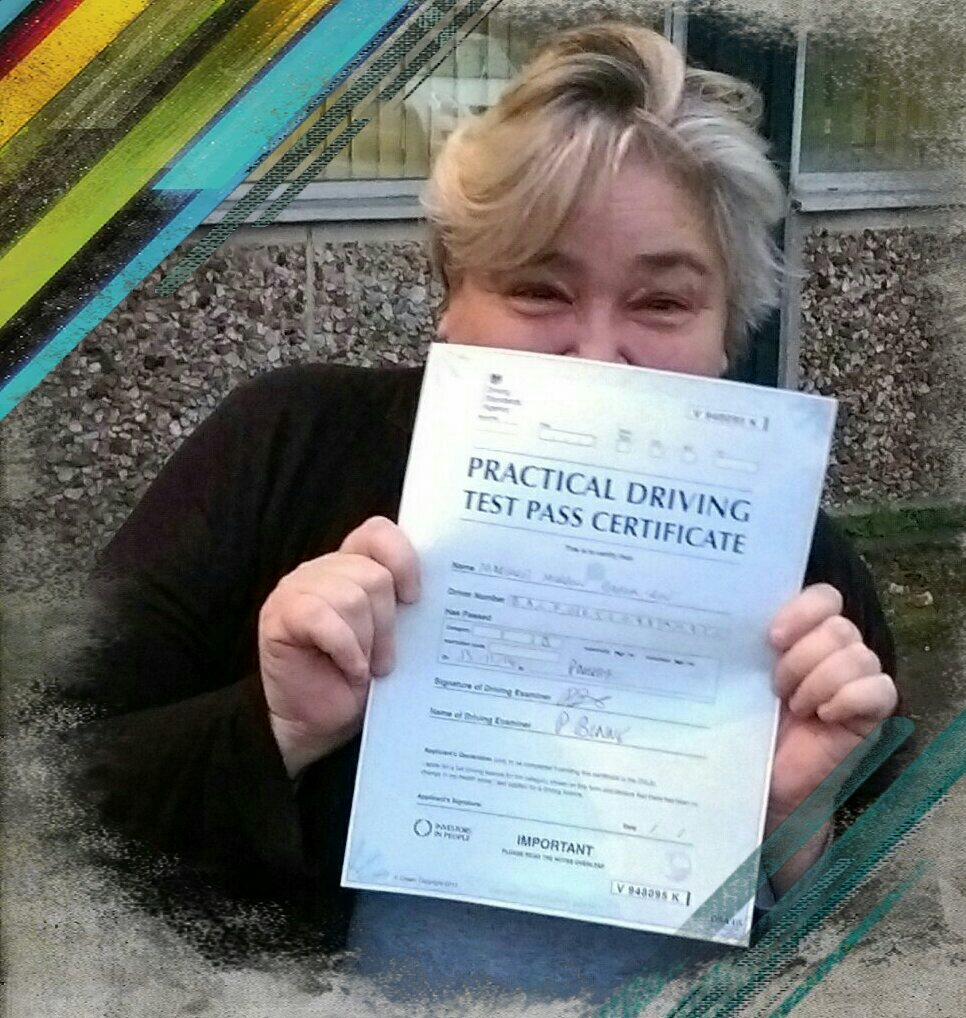 mags passing her driving test