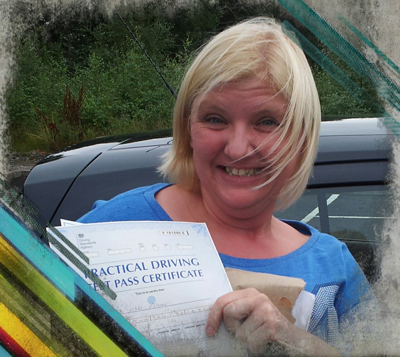 vikki passing her driving test