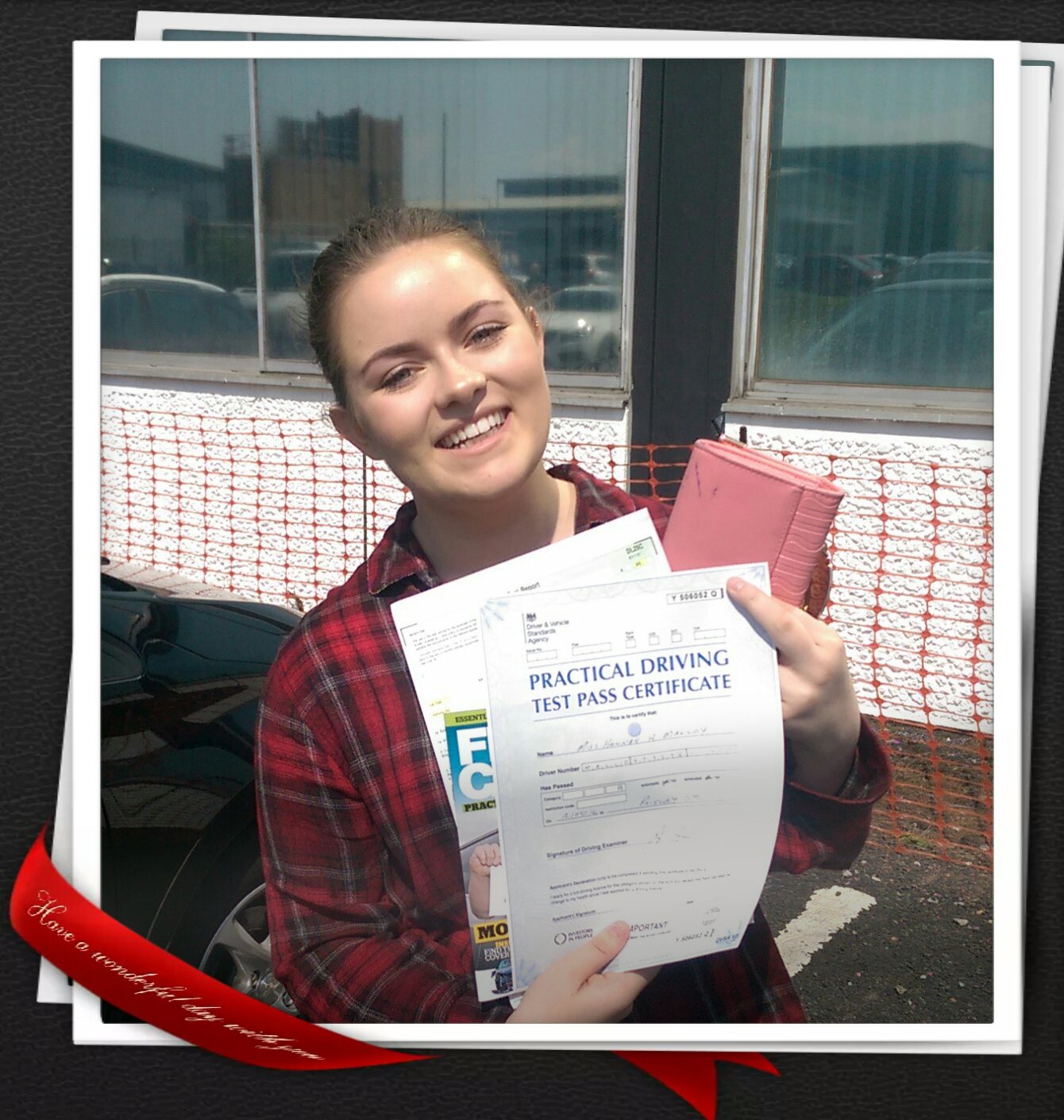 Hannah M passing her driving test in Paisley