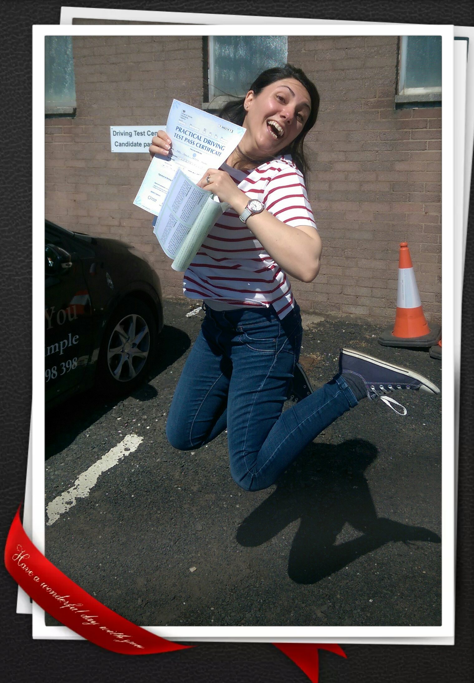 Sally passing her driving test at Paisley 2016